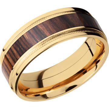 Lashbrook 18k Yellow Gold Hardwood 8mm Men's Wedding Band