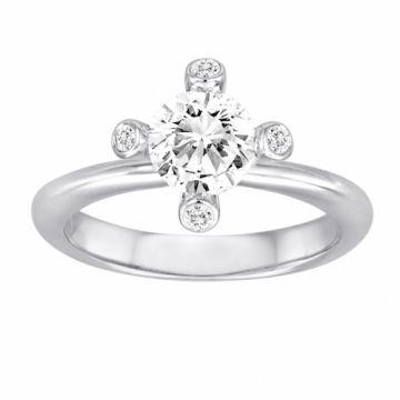 Diadori 18k White Gold Flower Diamond Engagement Ring