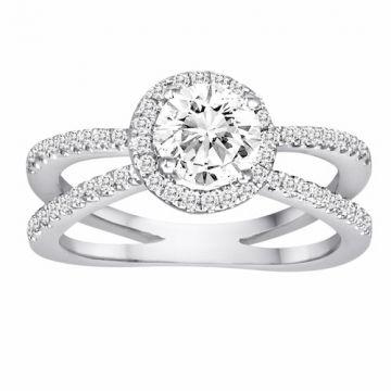 Diadori 18k White Gold Split Shank Halo Diamond Engagement Ring