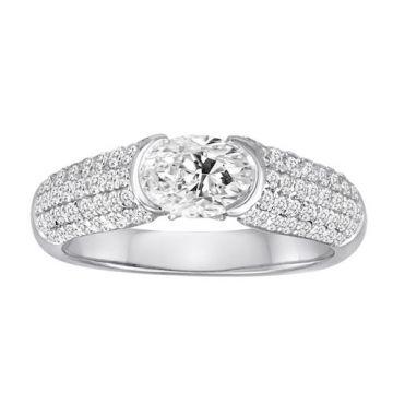 Diadori 18k White Gold Pave Tension Set Diamond Engagement Ring