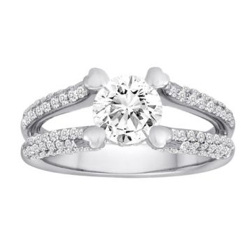 Diadori 18k White Gold Pave Split Shank Diamond Engagement Ring