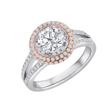 Diadori 18k Two Tone Gold Diamond Engagement Ring