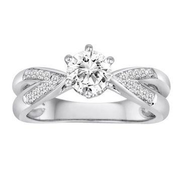 Diadori 18k White Gold Split Shank Six Prong Diamond Engagement Ring