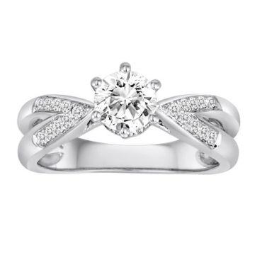 Diadori 18k White Gold Split Shank Six Prong Diamond Engagement Ring