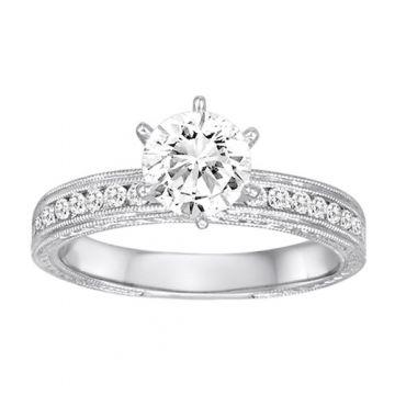Diadori 18k White Gold Milgrain Detailed Diamond Engagement Ring
