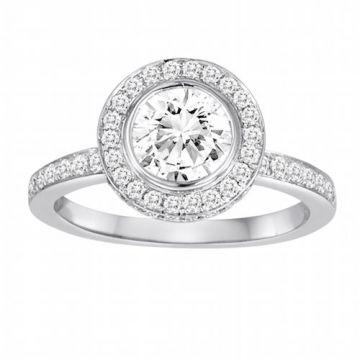 Diadori 18k White Gold Halo Diamond Engagement Ring