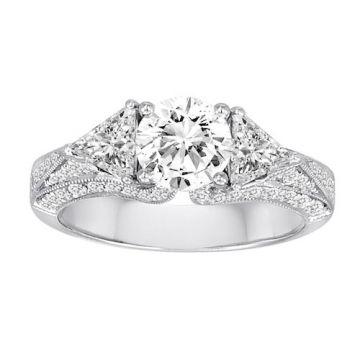 Diadori 18k White Gold Vintage Inspired Diamond Engagement Ring