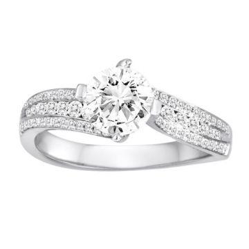 Diadori 18k White Gold Concave Diamond Engagement Ring