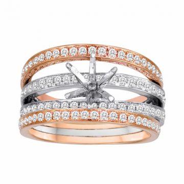Diadori 18k Two Tone Gold Stria Diamond Engagement Ring