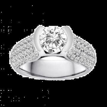 Diadori 18k White Gold Bezel Set Empress Diamond Engagement Ring