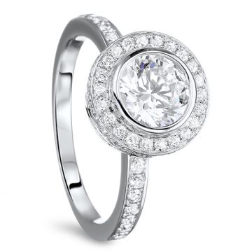 Diadori 18k White Gold Double Encrusted Halo Diamond Engagement Ring
