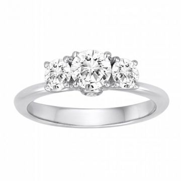 Diadori 18k White Gold Bouquet Three Stone Diamond Engagement Ring