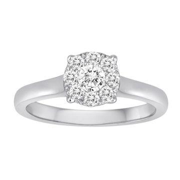 Diadori 18k White Gold Magic Cluster Diamond Engagement Ring