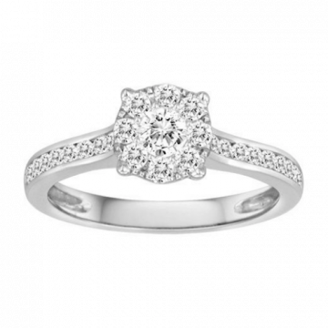 Diadori 18k White Gold Cluster Diamond Engagement Ring