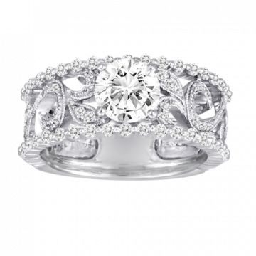 Diadori 18k White Gold Wide Vintage Scroll Diamond Engagement Ring