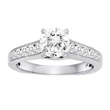 Diadori 18k White Gold Cathedral Diamond Engagement Ring