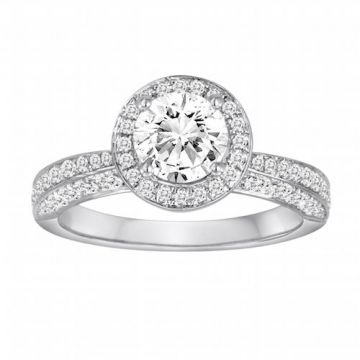 Diadori 18k White Gold Pave Halo Diamond Engagement Ring