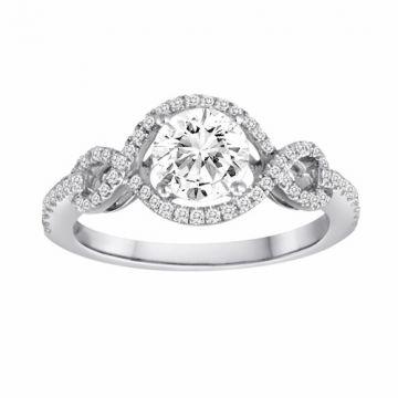 Diadori 18k White Gold Braided Diamond Engagement Ring
