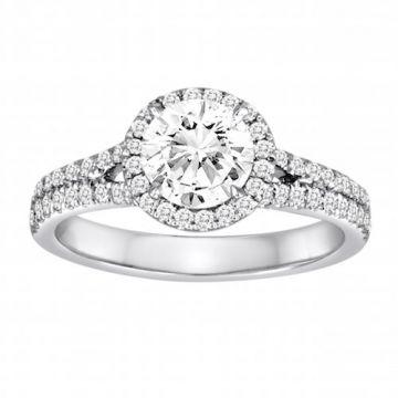 Diadori 18k White Gold Double Band Halo Diamond Engagement Ring