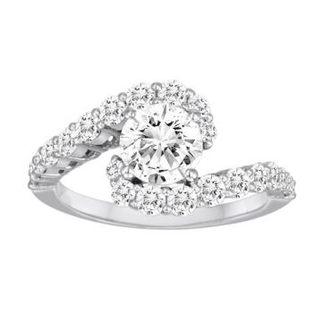 Diadori 18k White Gold Prong Set Swirl Diamond Engagement Ring