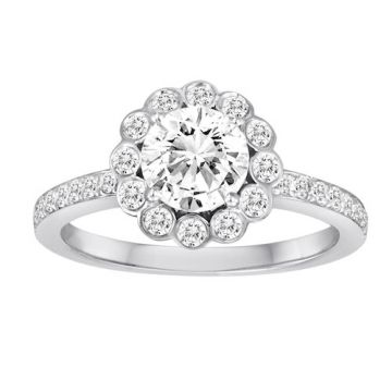 Diadori 18k White Gold Scalloped Halo Diamond Engagement Ring