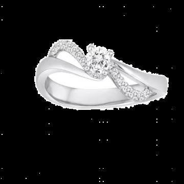 Diadori 18k White Gold Swirl Diamond Engagement Ring