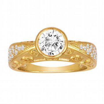 Diadori 18k Yellow Gold Exotic Diamond Engagement Ring
