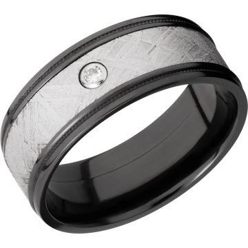 Lashbrook Black Zirconium Meteorite 8.5mm Men's Wedding Band