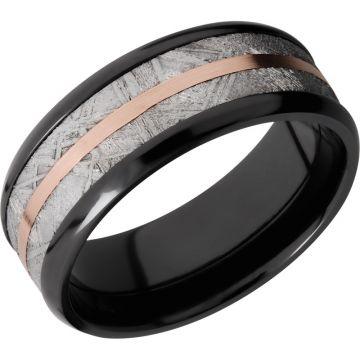 Lashbrook Black & Rose Zirconium Meteorite 8mm Men's Wedding Band