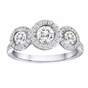 Diadori 18k White Gold Three Stone Halo Diamond Engagement Ring