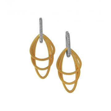 Diadori 14k Two Tone Gold Diamond Triple Oval Earrings