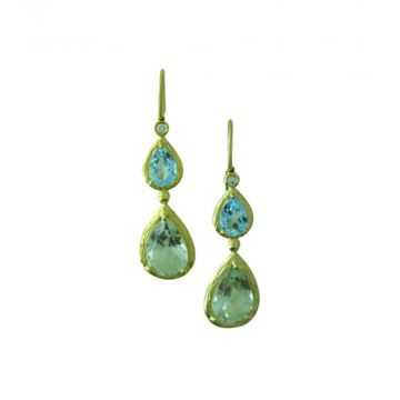 Diadori 14K Yellow Gold Blue Topaz and Green Amethyst Double Drop Earrings