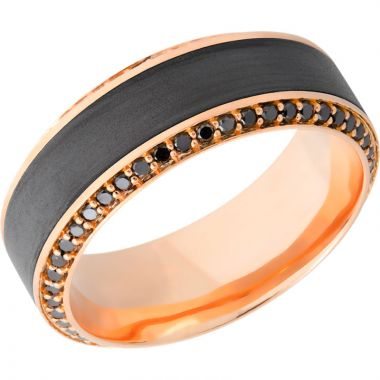 Lashbrook Black & Rose 18k Gold 8.5mm Men's Wedding Band