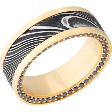 Lashbrook Black White & Yellow 18k Gold 8mm Men's Wedding Band