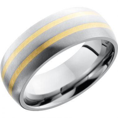 Lashbrook White & Yellow Titanium 8mm Men's Wedding Band