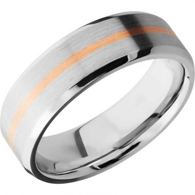 Lashbrook Rose & White Cobalt Chrome Men's Wedding Band