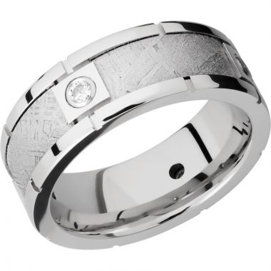 Lashbrook Cobalt Chrome Meteorite Diamond 8mm Men's Wedding Band