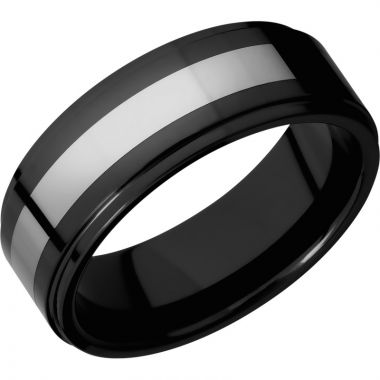 Lashbrook Black & White Tungsten 8mm Men's Wedding Band