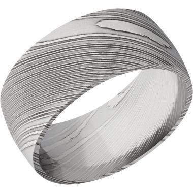 Lashbrook Black & White Damascus Steel 10mm Men's Wedding Band