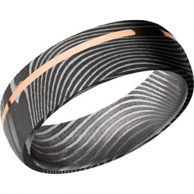 Lashbrook Black Rose & White Damascus Steel 7mm Men's Wedding Band