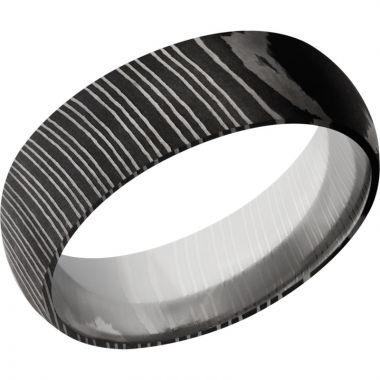 Lashbrook Black & White Damascus Steel 7mm Men's Wedding Band