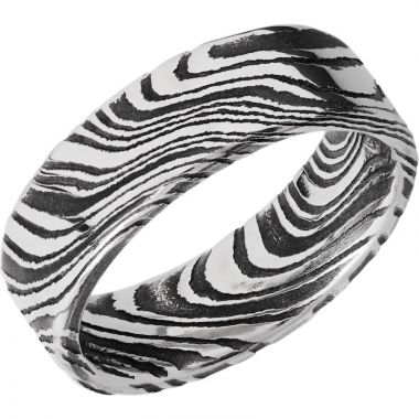 Lashbrook Black & White Damascus Steel 7mm Men's Wedding Band