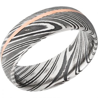 Lashbrook Black Rose & White Damascus Steel 8mm Men's Wedding Band