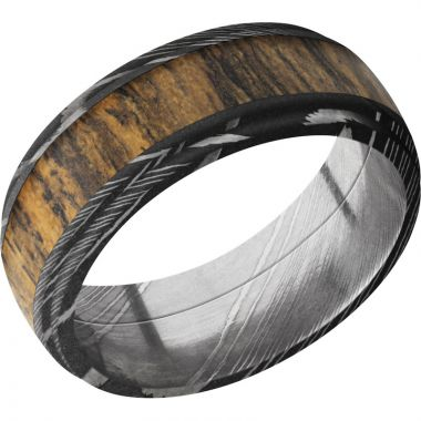 Lashbrook Black Damascus Steel Hardwood 8mm Men's Wedding Band