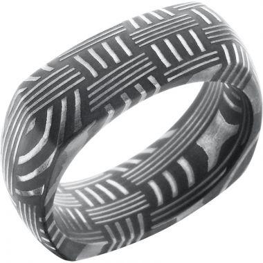 Lashbrook Black & White Damascus Steel 8mm Men's Wedding Band