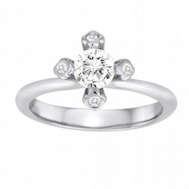 Diadori 18k White Gold Flower Diamond Engagement Ring