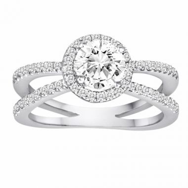 Diadori 18k White Gold Split Shank Halo Diamond Engagement Ring
