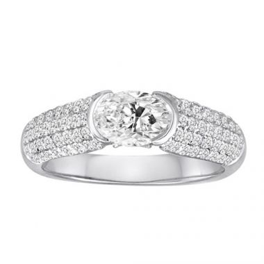 Diadori 18k White Gold Pave Tension Set Diamond Engagement Ring