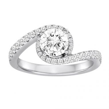 Diadori 18k White Gold Crossover Diamond Engagement Ring