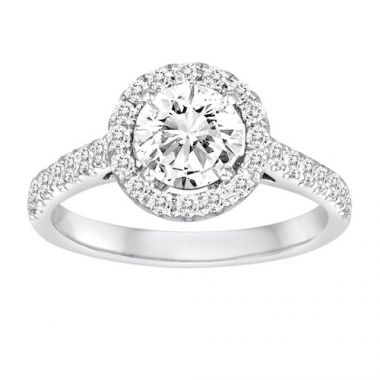 Diadori 18k White Gold Halo Diamond Engagement Ring